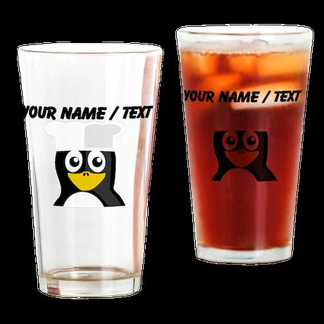 Custom Chef Penguin Drinking Glass