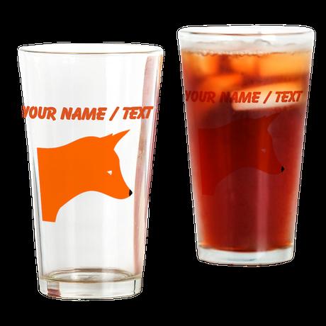 Custom Orange Fox Drinking Glass