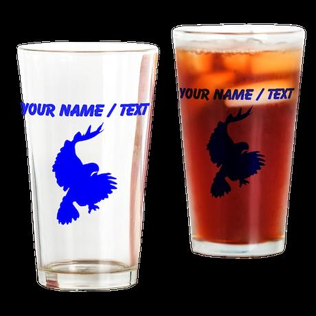 Custom Blue Hawk Silhouette Drinking Glass