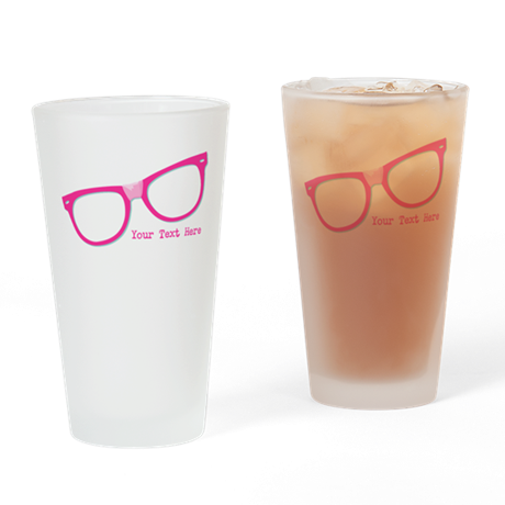 Pink Nerd Glasses Personalized Drinking Glass