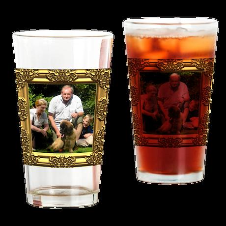 Custom gold baroque framed photo Drinking Glass