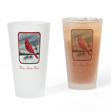 Red Northern Cardinal Bird Personalize Drinking Gl