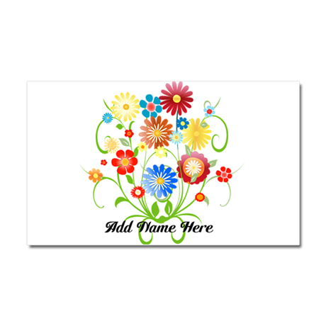 Personalized floral light Car Magnet 20 x 12