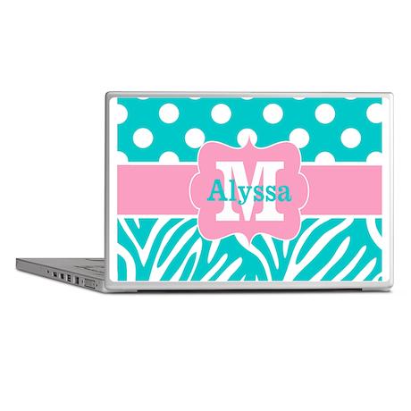 Pink Teal Dots Zebra Personalized Laptop Skins