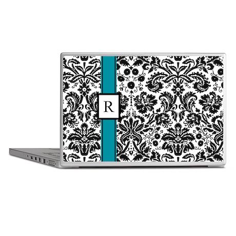Teal Black Damask Monogram Laptop Skins