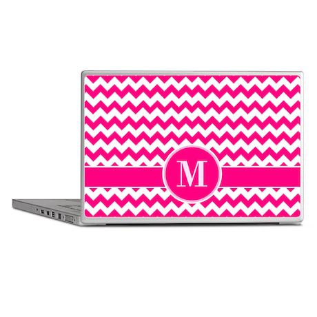 Chevron Pattern Hot Pink and White Laptop Skins