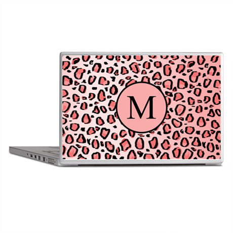 Leopard Print Pink with Custom Monogram Laptop Ski