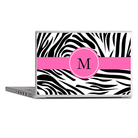 Monogram Black and White Zebra Print Laptop Skins