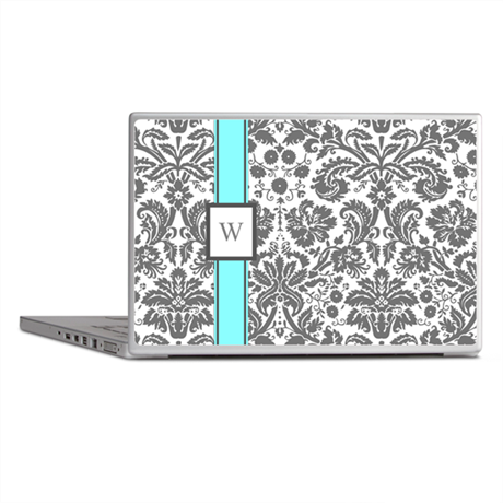Aqua Grey Damask Monogram Laptop Skins