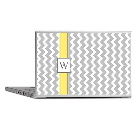Grey Yellow Chevron Monogram Laptop Skins