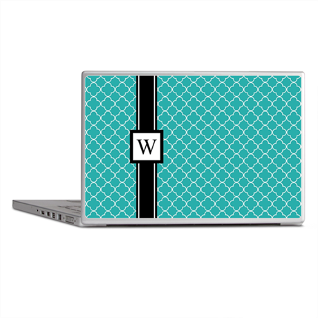 Teal Black Quatrefoil Monogram Laptop Skins