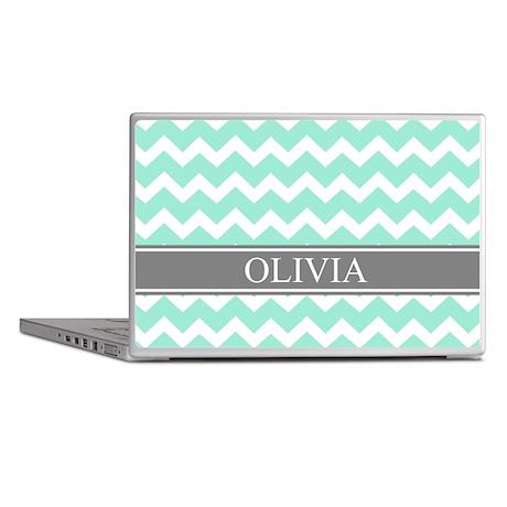 Aqua Grey Chevron Name Laptop Skins