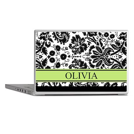Lime Black Damask Custom Name Laptop Skins