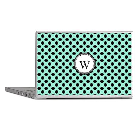 Aqua Black Dots Monogram Laptop Skins