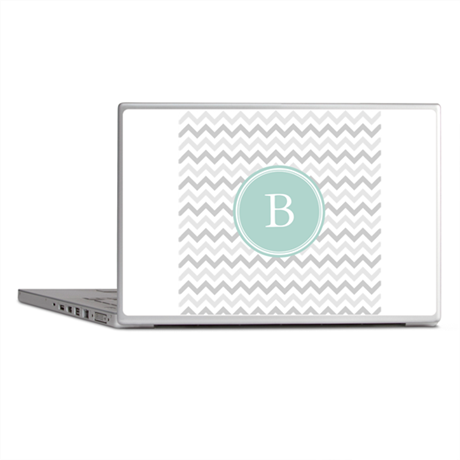 Mint Grey Chevron Laptop Skins