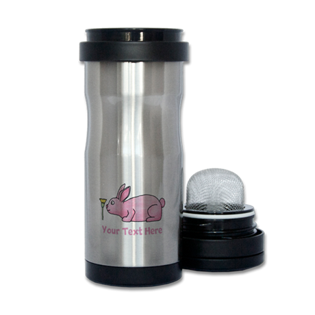 Pink Rabbit, Custom Text. Tea Tumbler