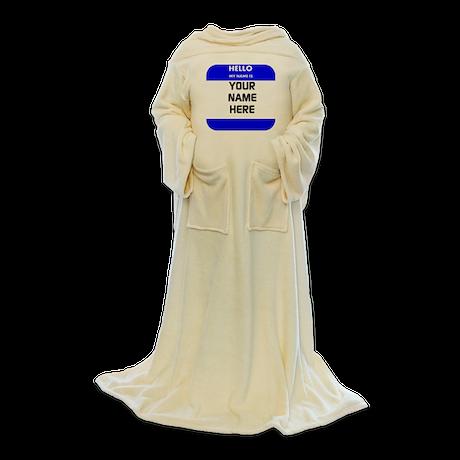 Custom Blue Name Tag Blanket Wrap