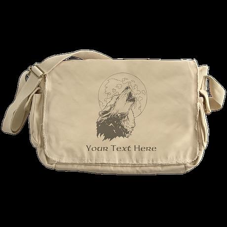 Wolf and Moon. Custom Text. Messenger Bag