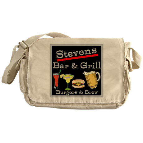 Personalized Bar and Grill Messenger Bag