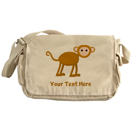 Monkey and Text. Messenger Bag