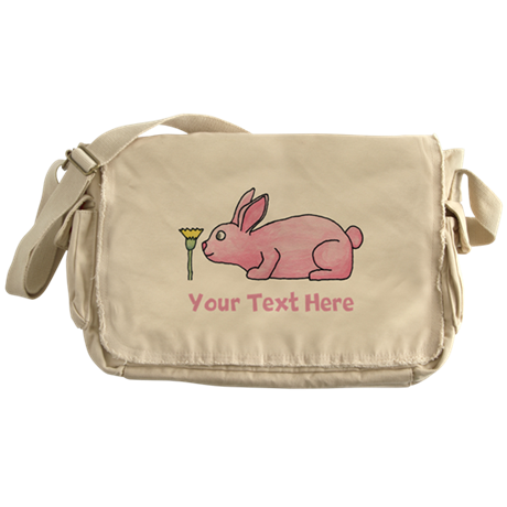 Pink Rabbit, Custom Text. Messenger Bag