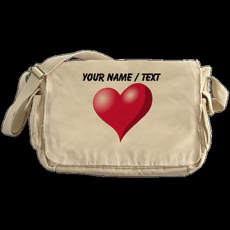 Custom Pink Heart Messenger Bag