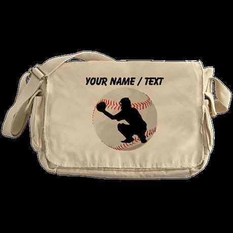 Custom Baseball Catcher Silhouette Messenger Bag