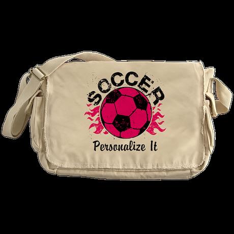 Personalized Soccer Flames Messenger Bag