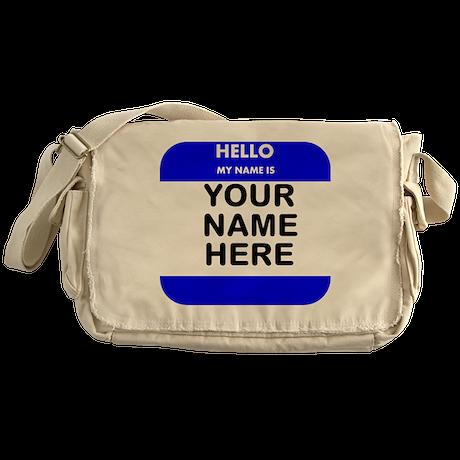 Custom Blue Name Tag Messenger Bag