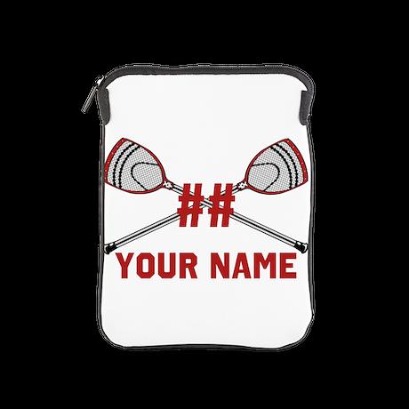 Personalized Crossed Goalie Lacrosse Sticks Red iP