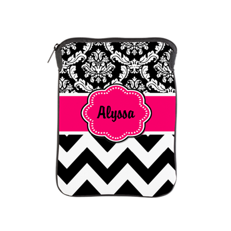 Pink Black Damask Chevron iPad Sleeve