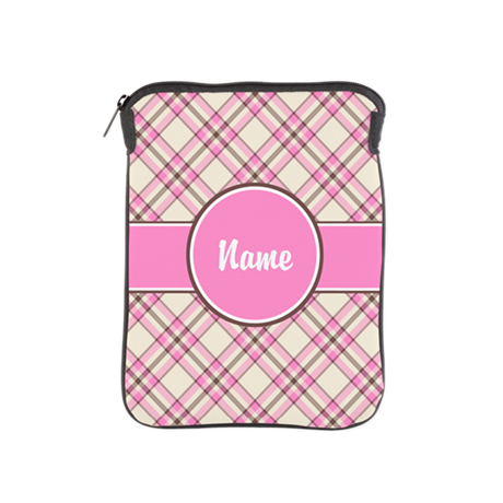 Pink Check Personalized iPad Sleeve