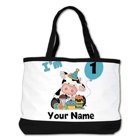 First Birthday Boy Cow Shoulder Bag
