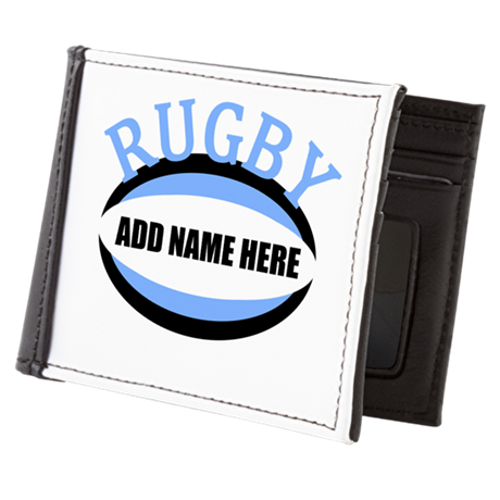 Rugby Add Name Light Blue Mens Wallet