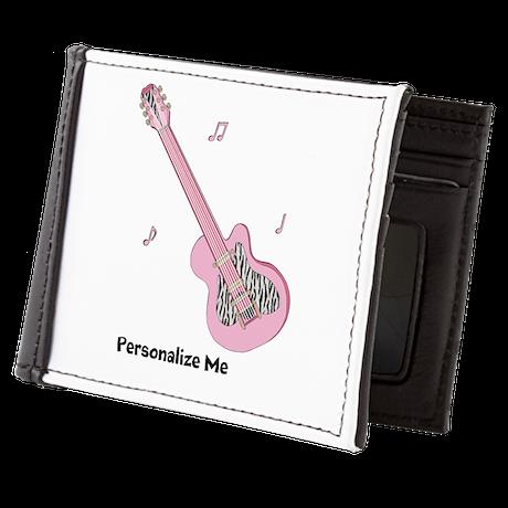 Personalized - Pink Zebra Print - Guit Mens Wallet