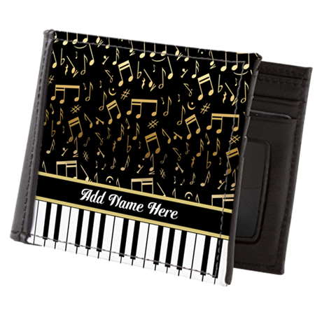Personalized Gold Musical notes piano Mens Wallet