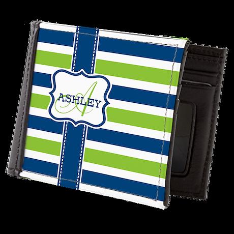 Blue and Lime Stripes Monogram Mens Wallet