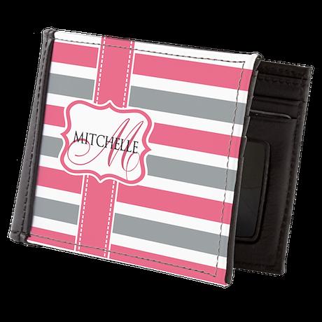 Custom Stripe Monogram Mens Wallet