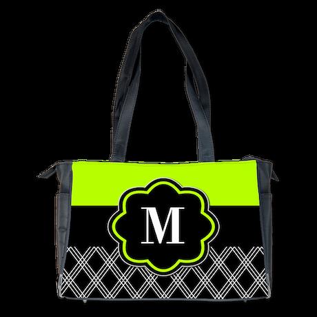 lime green black monogram diaper bag by cupcakesandsprinklesbirthdaytees. Black Bedroom Furniture Sets. Home Design Ideas