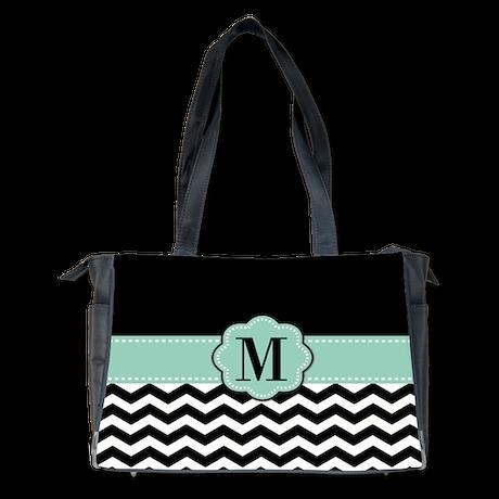 mint black chevron monogram diaper bag by cupcakesandsprinklesbirthdaytees. Black Bedroom Furniture Sets. Home Design Ideas