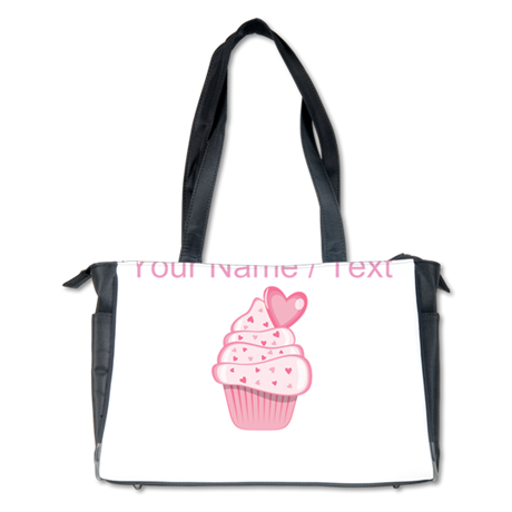Custom Pink Heart Cupcake Diaper Bag