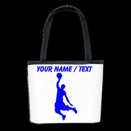 Custom Blue Basketball Dunk Silhouette Bucket Bag