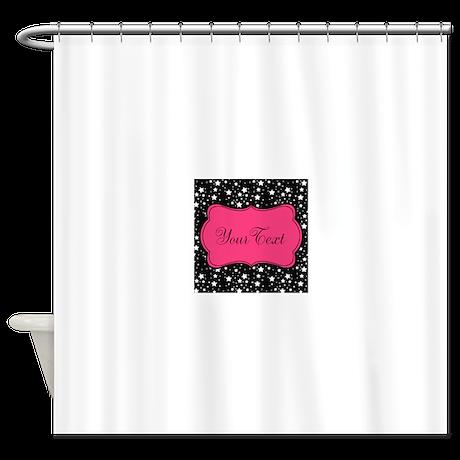 Personalizable Pink And Black Stars Shower Curtain By BeachBumFamilyShop
