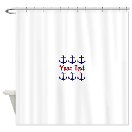 Personalizable Red And Blue Anchors Shower Curtain By Testingtesttess
