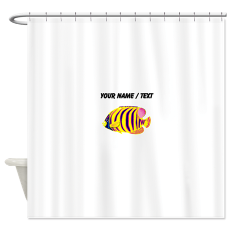 Custom Yellow Striped Tropical Fish Shower Curtain By CustomAquaticLife