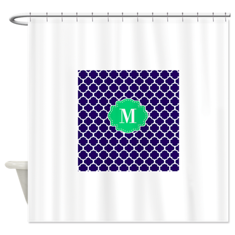 Navy Green Quatrefoil Monogram Shower Curtain By CupcakesandSprinklesBirthday