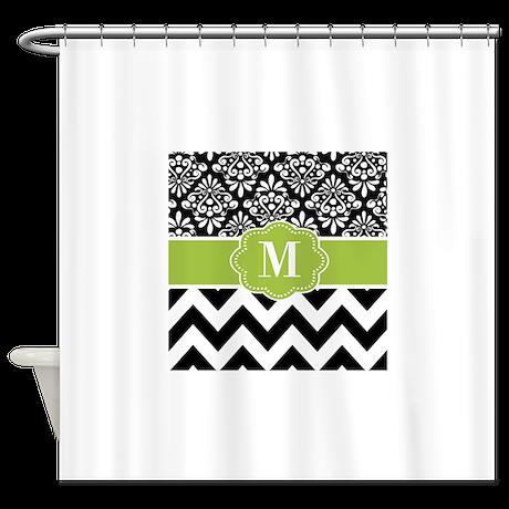 black green chevron monogram shower curtain by