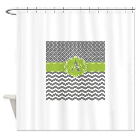 Gray Green Chevron Personalized Shower Curtain By CupcakesandSprinklesBirthda