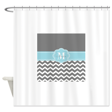Gray Blue Chevron Personalized Shower Curtain By CupcakesandSprinklesBirthday