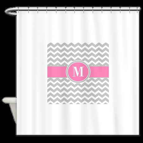 Gray Pink Chevron Monogram Shower Curtain By Cupcakesandsprinklesbirthdaytees